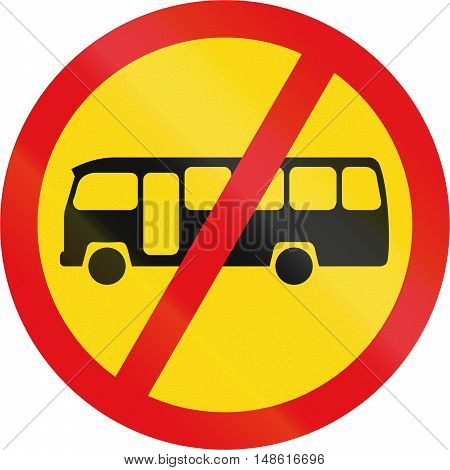 Temporary road sign used in the African country of Botswana - Midi-buses prohibited. poster