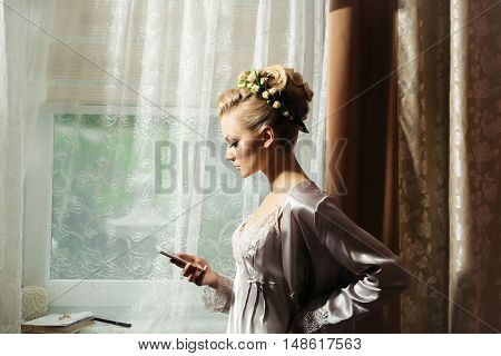 Pretty Bride Girl With Mobile Phone