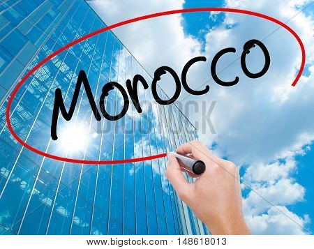 Man Hand Writing Morocco  With Black Marker On Visual Screen