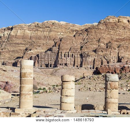 View from Great Temple (Qasr al-Bint) towards urn silk and royal tombs. Petra. Jordan.
