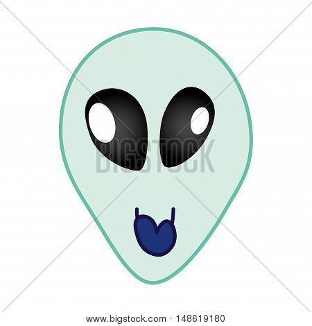 space alien head face cartoon. extraterrestrial character. vector illustration