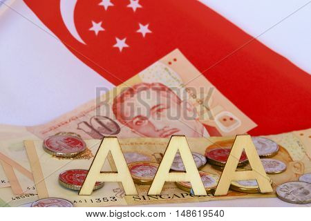 Tripple A rating for Singapore with dollar notes and coins.