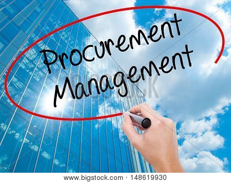 Man Hand Writing Procurement Management With Black Marker On Visual Screen.