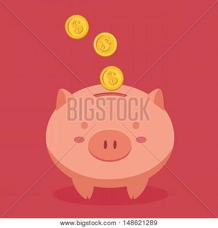 Piggy Bank Savings with Coin Money in Red Background