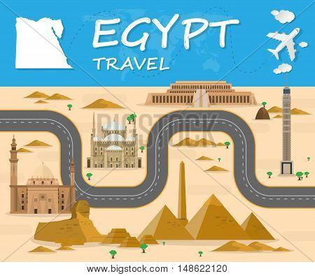 Egypt Landmark Global Travel And Journey Infographic Vector Design Template.vector