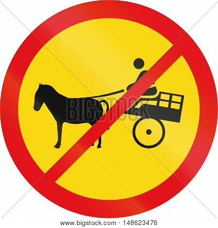 Temporary road sign used in the African country of Botswana - Animal-drawn vehicles prohibited. poster