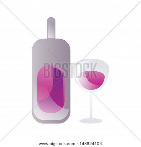 wine bottle and glass with liquor liquid drink. vector illustration