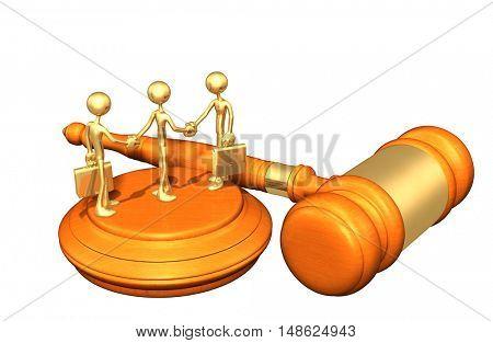 Double Deal Legal Gavel Concept 3D Illustration