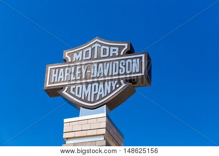 York PA - September 23 2016: The Black and Silver Harley-Davidson Logo Sign at the factory.