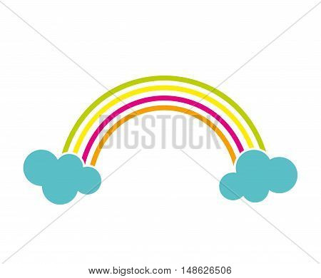 rainbow cloud color stripe spectrum curve nature light vector illustration