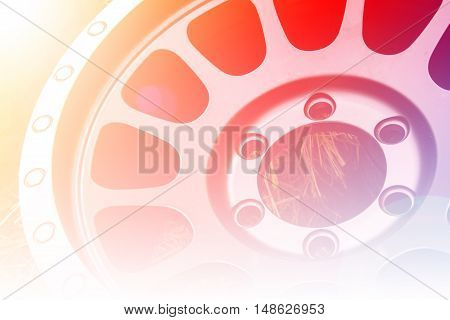 close up alloy wheels with color filter