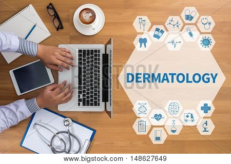 DERMATOLOGY Professional doctor use computer and medical equipment all around desktop top view coffee poster