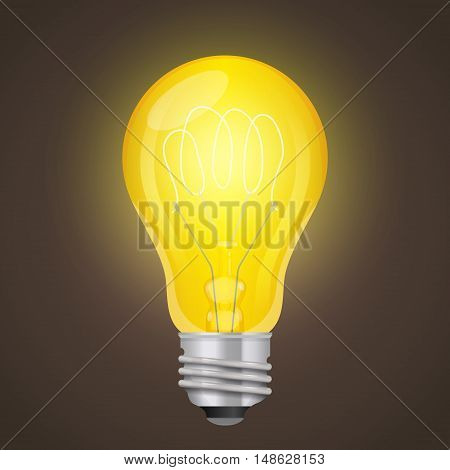 Light bulb. Graphics style. Vintage light bulb. Creative style. Beautiful patches of light.