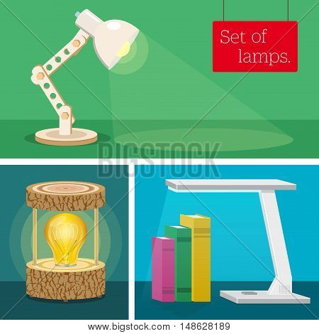 Set of desk lamps. Various author's design. Classical lamp. Excellent design of a wooden desk lamp. Modern hi-tech lamp.