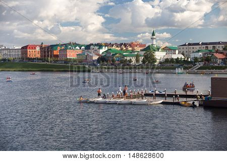 RUSSIA, KAZAN - AUGUST 11, 2015: Activities at the city lake Kaban in Kazan. Kazan is the capital and largest city of the Republic of Tatarstan, Russia. It is the eighth most populous city in Russia.