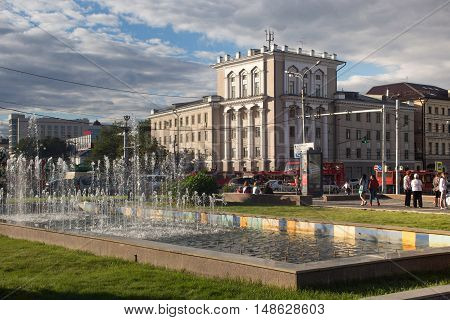RUSSIA, KAZAN - AUGUST 11, 2015: Early evening in the center of the Kazan. Kazan is the capital and largest city of the Republic of Tatarstan, Russia. It is the eighth most populous city in Russia.