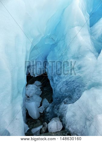 Glacier Nigardsbreen, Norway. Looking Inward blue iceberg.