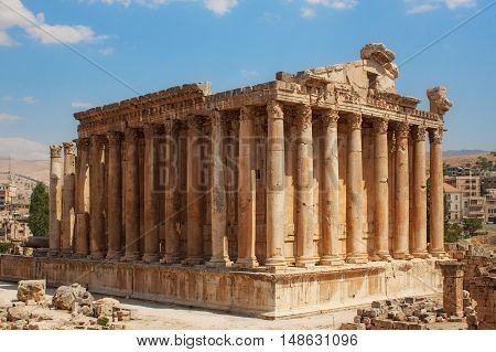 Bacchus temple at the Roman ancient ruins of Baalbek, Lebanon