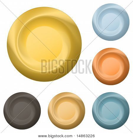 Round metal buttons