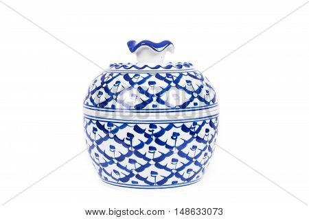 blue ceramic benjarong cup on white background