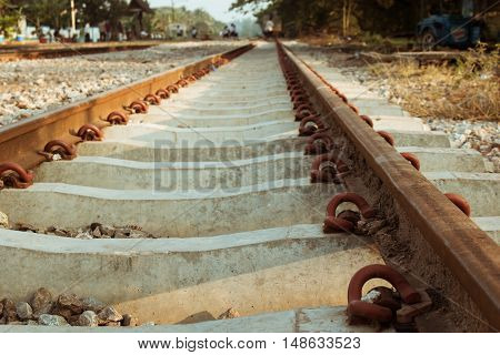 old railroad in the morning , train transportaion