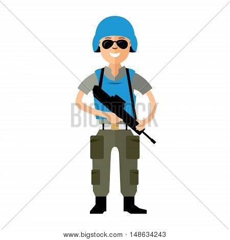 Soldier in uniform with a gun. Isolated on a white background