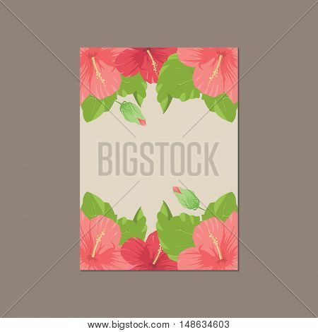 Thank you cartoon card made of foral background in pink colors