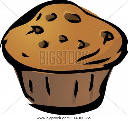 Cupcake illustration hand-drawn lineart sketch chocolate chip