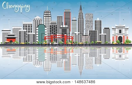 Chongqing Skyline with Gray Buildings, Blue Sky and Reflections. Business Travel and Tourism Concept with Chongqing Modern Buildings. Image for Presentation Banner Placard.