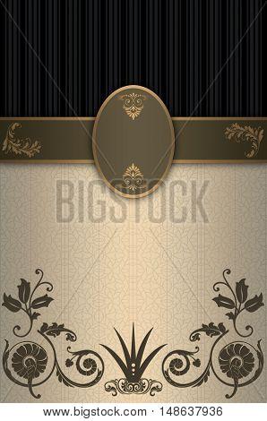 Vintage background with decorative borderframe and elegant patterns.
