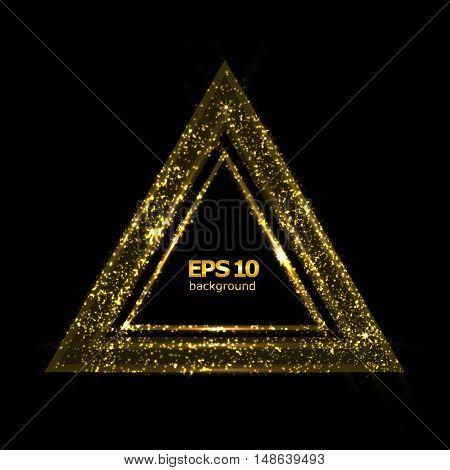 Abstract composition shiny geometric shape flare visual light flash golden triangle radiance icon effulgence figure logo construction glory screen saver luster sheen EPS 10 vector illustration