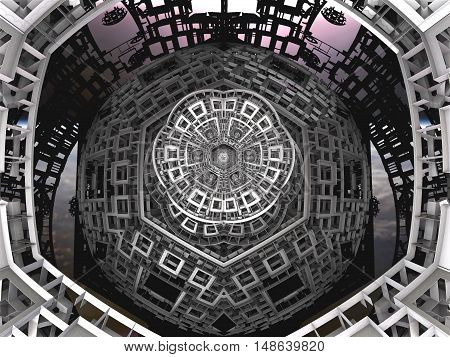 3D illustration of virtual textured detail of futuristic spaceship