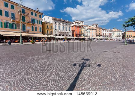 VERONA, ITALY- September 08, 2016: View on the  colorful houses located on the Piazza Bra is the largest piazza in Verona.country.