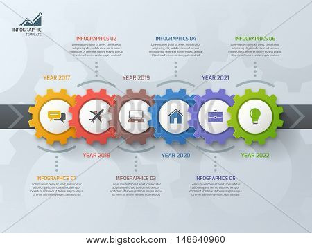 Timeline Business Infographic Template With Gears Cogwheels 6 Steps, Processes, Parts, Options. Vect