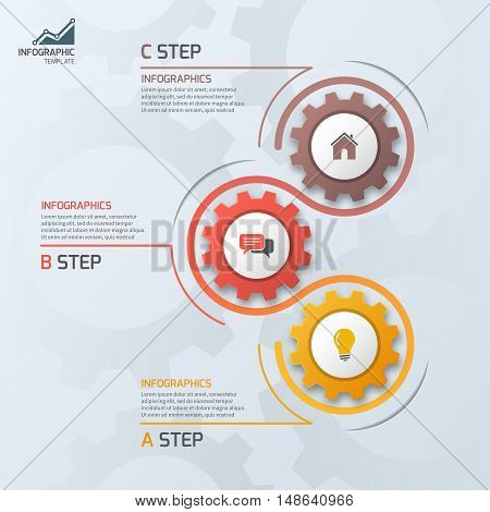 Timeline Business Infographic Template With Gears Cogwheels 3 Steps, Processes, Parts, Options. Vect