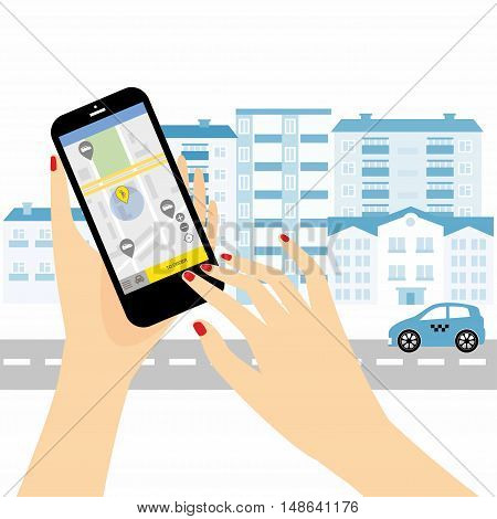 Taxi service. Smartphone and touchscreen, city skyscrapers.Transportation network app, calling a cab by mobile phone concept.
