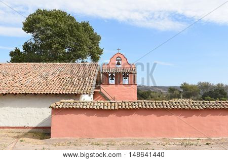 LOMPOC, CALIFORNIA - SEPTEMBER 21, 2016: Mission La Purisima bell tower. La Purisima was the eleventh mission of the twenty-one Spanish Missions and most restored to date.