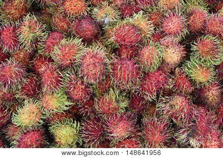 Rambutan, Rambutans , Rambutans Background, Rambutan In Plastic Box , Red Rambutan , Ripe Rambutan ,