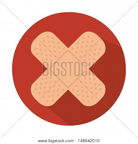 medical bandage aid cure over red circle. vector illustration