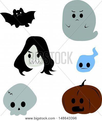 Cute and Flat Cartoon Set of Halloween