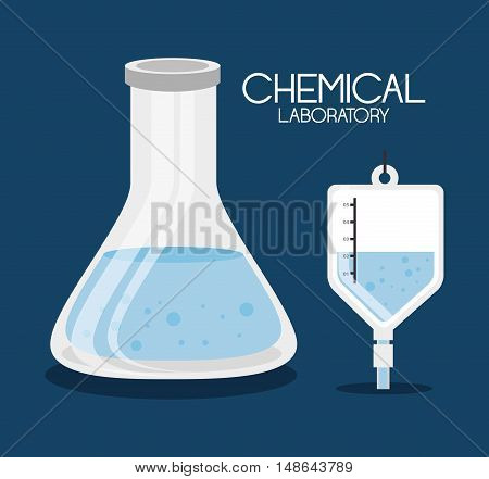 conical flask bottle and iv bag chemical laboratory icon design. vector illustration