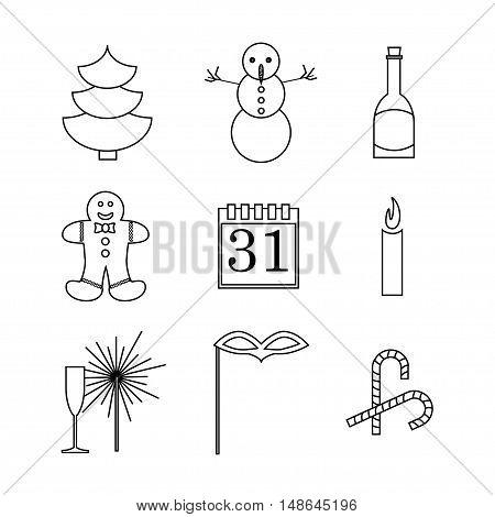 New Year Celebration Icons Set