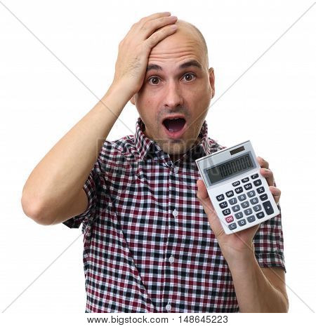 Shocked Man Holding A Calculator Isolated