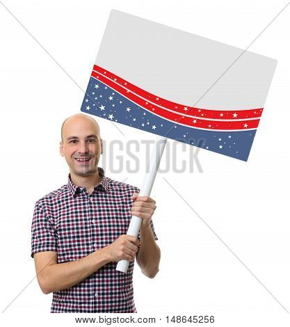 Election Rally Concept. Smiling Man Holding Blank Poster