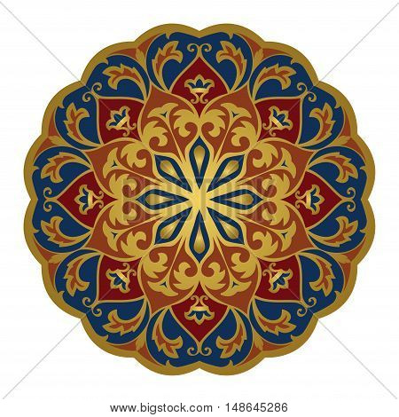 Eastern mandala on a white background. Vector elegance ornament. Design element for any surface. Stylized template for carpet.