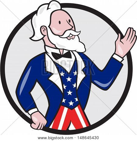 Illustration of Uncle Sam wearing american stars and stripes suit waving hand looking to the side viewed from the side set inside circle on isolated background done in cartoon style.