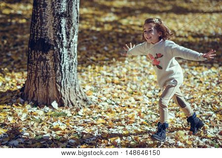Little Girl Playing In A City Park In Autumn
