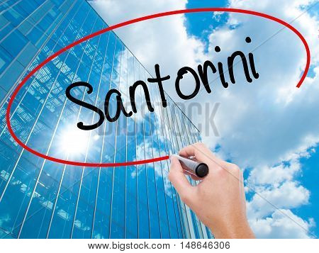 Man Hand Writing Santorini  With Black Marker On Visual Screen