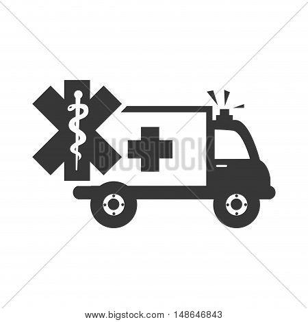 ambulance emergency medical vehicle with caduceus medicine symbol .vector illustration