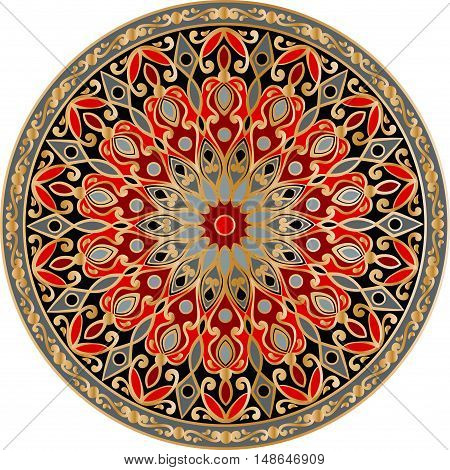 Drawing of a floral mandala in gold, red, gray and black colors on a white background. Hand drawn tribal  vector stock illustration